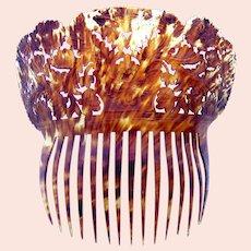 Chinese export hair comb natural tortoiseshell headdress