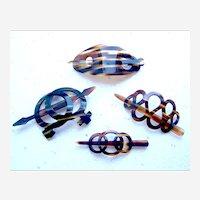Four vintage hair barrettes faux tortoiseshell effect hair accessories