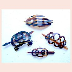 Four vintage hair barrettes faux tortoiseshell effect hair accessories