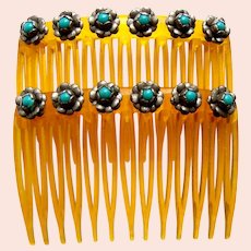 Matched pair Mexican hair combs with turquoise hair accessories
