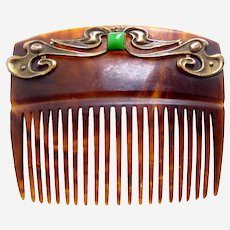 Art Nouveau hair comb polished brass faux jade hair accessory