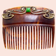 Art Nouveau hair comb polished brass faux jade hair accessory