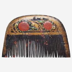 Indonesian hair comb wooden vanity with painted decoration