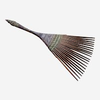 Hair comb Indonesia Bali, wood reeds and woven wire hair accessory