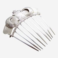 Early Victorian hair comb silver with looped design and engraving