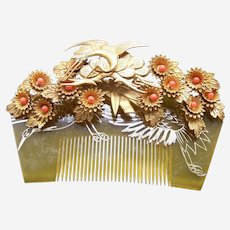 Vintage Japanese kanzashi hair comb wedding hair accessories