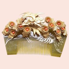 Vintage Japanese kanzashi hair comb wedding hair accessories