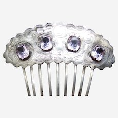 Early Victorian hair comb silver with faceted crystal hair ornament