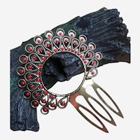 Vintage Spanish mantilla style hair comb enamel decoration hair accessory