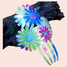 Vintage Spanish mantilla style hair comb acrylic floral hair accessory
