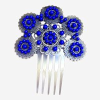 Vintage Spanish mantilla style hair comb purple beads hair accessory
