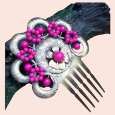 Vintage Spanish mantilla style hair comb coral beads hair accessory