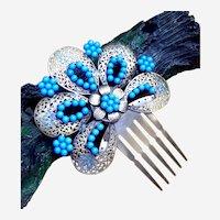 Vintage Spanish mantilla style hair comb blue beads hair accessory
