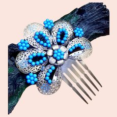 Vintage Spanish mantilla style hair comb blue beads hair accessory