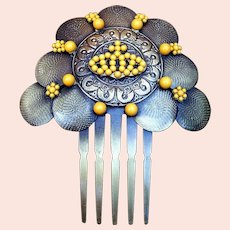 Vintage Spanish mantilla style hair comb yellow beads hair accessory