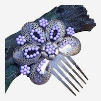 Vintage Spanish mantilla style hair comb mauve beads hair accessory