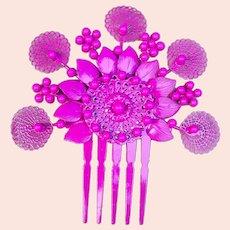 Vintage Spanish mantilla style hair comb cerise beads hair accessory