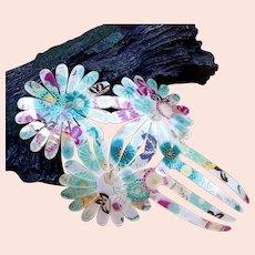 Vintage Spanish mantilla style hair comb acrylic floral hair accessory