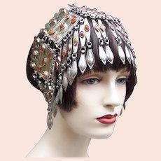 Turkoman headdress dangles and carnelian ethnic wedding hair ornament