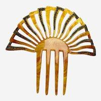 Art Deco hair comb blue rhinestone sunray design hair accessory