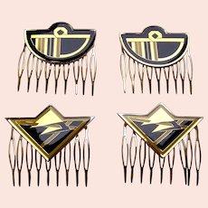 4 Art Deco style vintage geometric enamel hair combs 1980s (AAA)