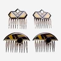 4 Art Deco style vintage geometric enamel hair combs 1980s (AAB)