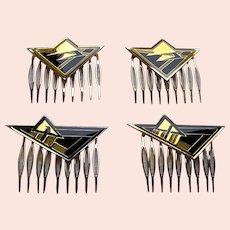 4 Art Deco style vintage geometric enamel hair combs 1980s (AAD)