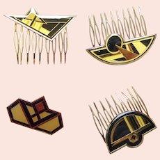 4 Art Deco style vintage geometric enamel hair ornaments 1980s (AAF)