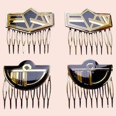 4 Art Deco style vintage geometric enamel hair combs 1980s (AAG)