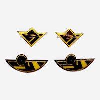 Four Art Deco style vintage geometric enamel hair barrettes 1980s (AAH)
