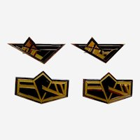 4 Art Deco style vintage geometric enamel hair barrettes 1980s (AAI)