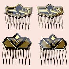 4 Art Deco style vintage geometric enamel hair combs 1980s (AAE)