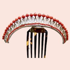 Regency tiara hair comb coral and fire gilded brass hair ornament