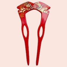 Vintage Japanese hair comb floral design kanzashi hair accessory