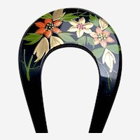 Vintage Japanese hair comb floral design kanzashi hair accessory