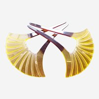 Matched pair hair combs vintage Japanese kanzashi amber hair ornaments