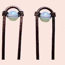 Matched pair hair pins Machine Age modernist hair accessories