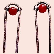 Matched pair hair pins Machine Age modernist hair accessories