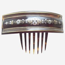 Victorian hair comb tortoiseshell with gold silver pique inlay hair ornament