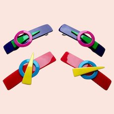 Two matched pair geometric style hair barrettes 1980s