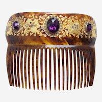 Victorian hair comb with lavish rhinestone trim hair ornament