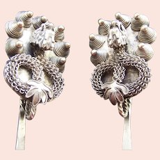 Laos matched pair silver hair pins with dragons ethnic Hmong Miao hill tribe