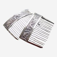 Matched pair silver hair combs signed Mainland China hair ornament