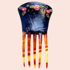 Miniature hair comb suitable for doll hand painted Spanish style hair ornament