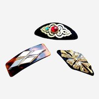 Three metallic hair barrettes good quality 1980s hair accessories