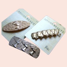 Three hair barrettes good quality 1980s metallic hair accessories