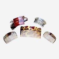 Five animal print hair combs 1980s vintage hair accessories