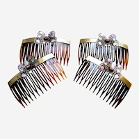 Four mid century hair combs butterfly design hair accessories