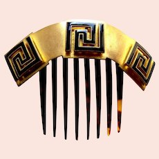 Victorian hinged hair comb enamel decorated hair ornament