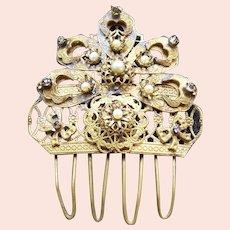 Vintage Spanish hair comb filigree design rhinestone hair ornament